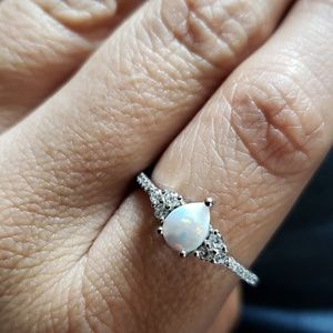 Jewelry - White opal sterling silver ring with cz